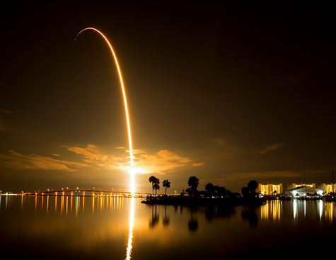 space x falcon 9 rocket night launch in titusville, florida