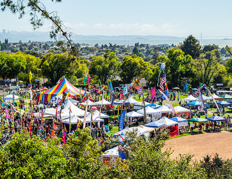looking down from the el cerrito hills looking down upon the annual 4th of july festival in cerrito vista park