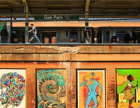colorful murals at a train platform in oak park, illinois