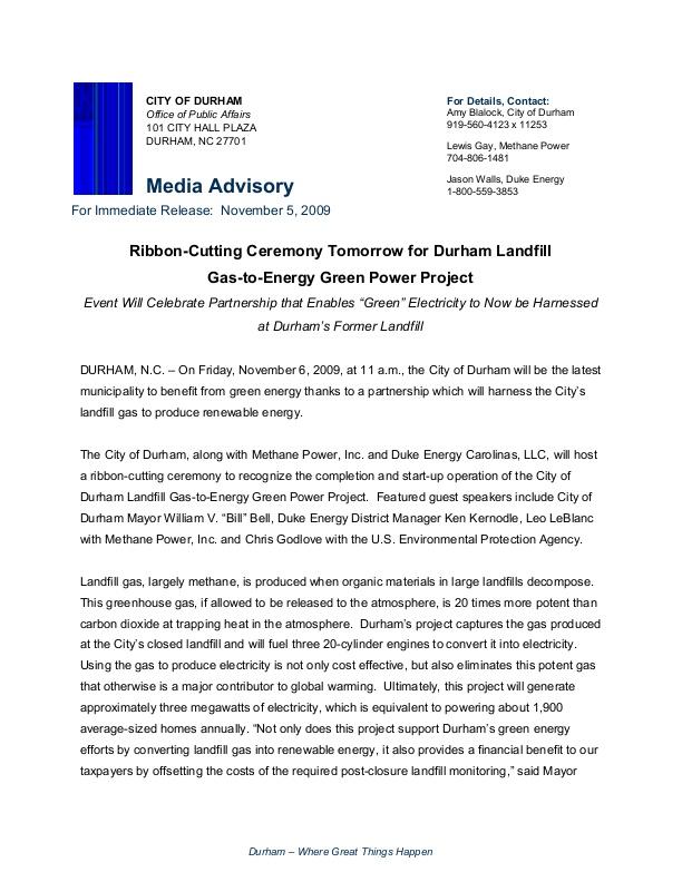 Durham Landfill Green Energy Project Icma Org