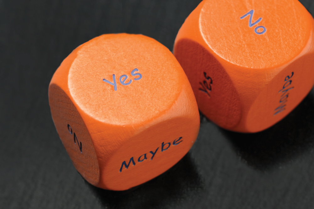 dice with options of yes no maybe