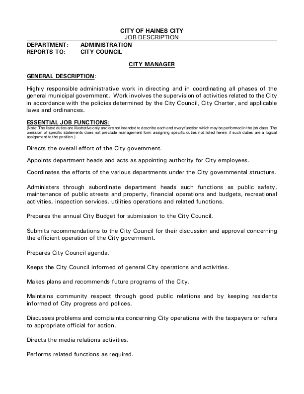 SAMPLE: City Manager Job Announcement, City of Haines City, FL ...
