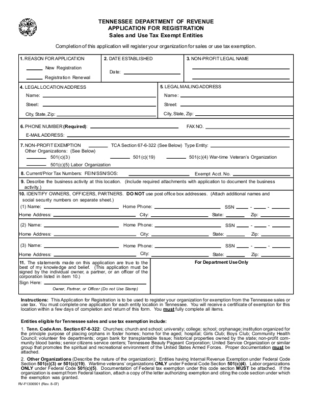 Tennessee Department of Revenue Application for Registration: Sales ...