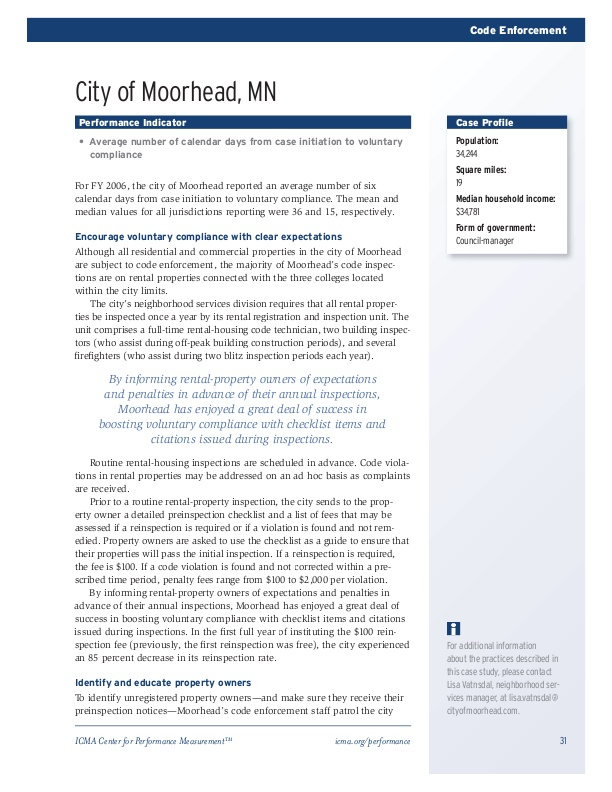 What Works: Code Enforcement Sample Case Study   icma org