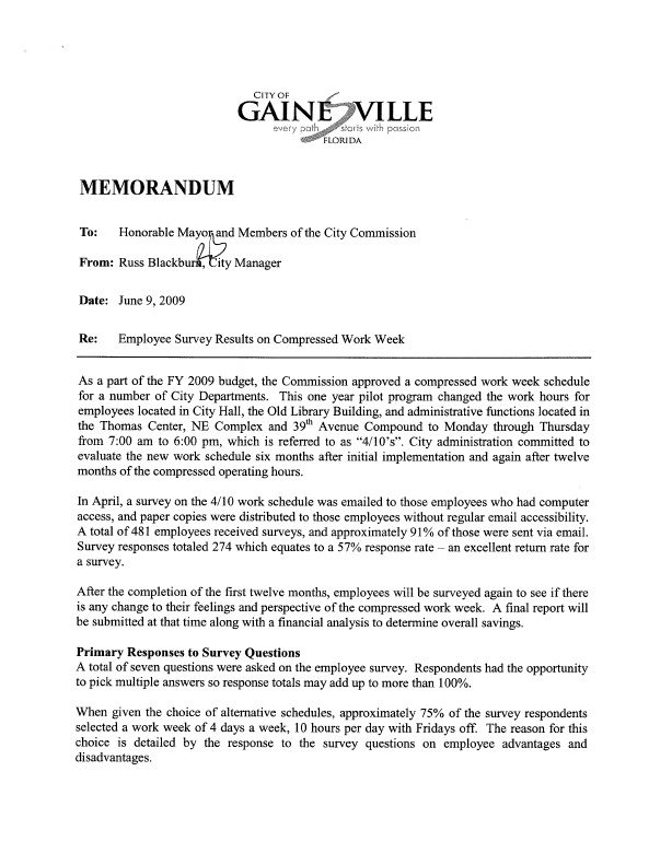 Memorandum on compressed work week employee survey for Compressed work week proposal template