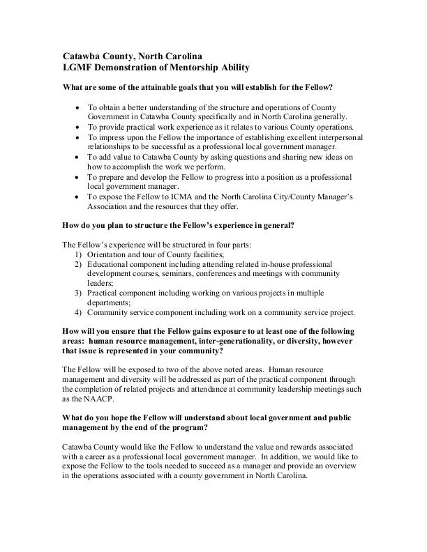 SAMPLE: Local Government Management Fellow Program Work Plan | icma org