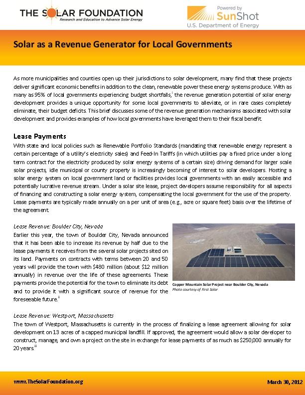 Solar as a Revenue Generator for Local Governments   icma org