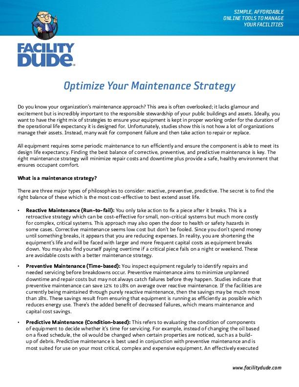 FacilityDude: Optimize Your Maintenance Strategy | icma org