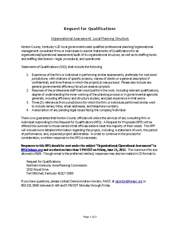 SAMPLE: Request for Qualifications: Organizational Assessment: Local ...