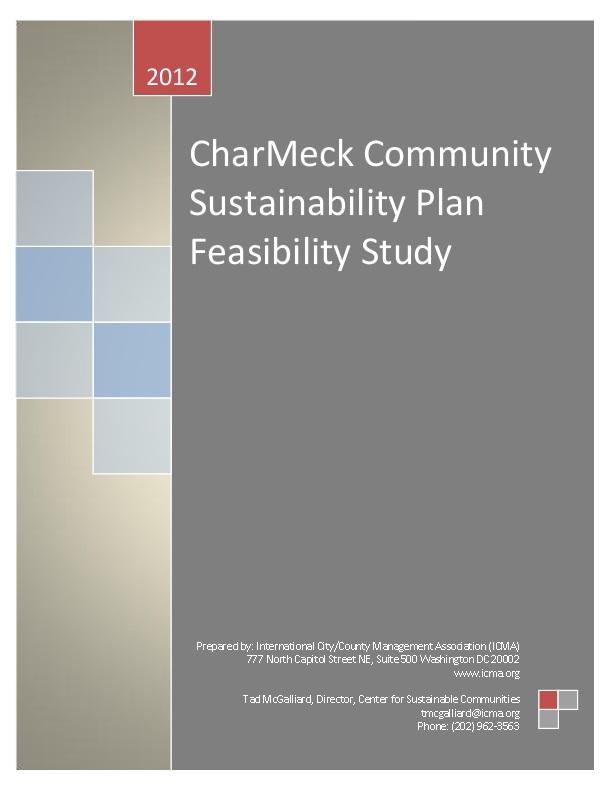 CharMeck Community Sustainability Plan Feasibility Study | icma org