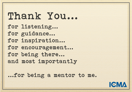 """""""Thank You for Being a Mentor to Me"""" 