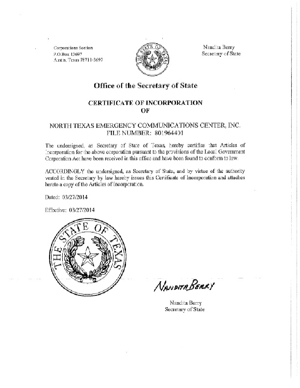 Certificate Of Incorporation Of North Texas Emergency Communications