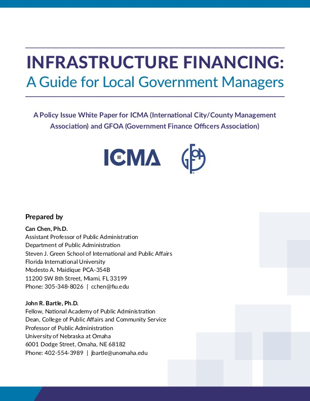 Infrastructure Financing  A Guide For Local Government Managers