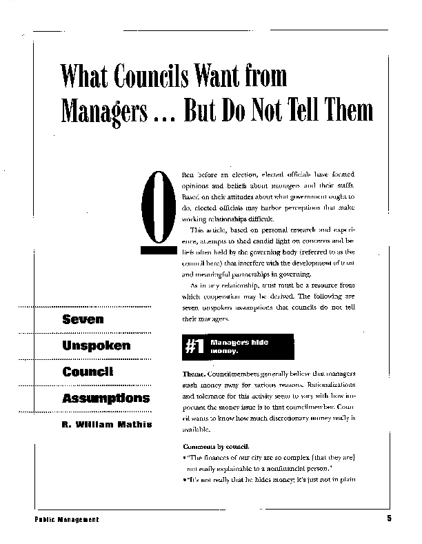 What Councils Want from Managers   But Do Not Tell Them