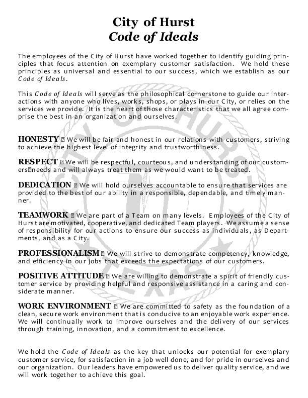 Employee Code of Ideals | icma org