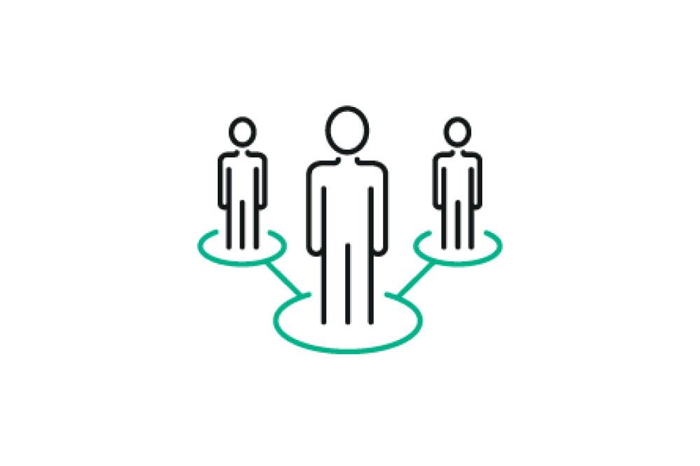 leadership vector of three line figures