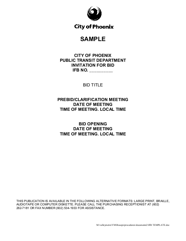 Invitation for bid template public transit icma this template from the city of phoenix arizona helps other public transit departments set up invitations for bids ifbs includes solicitation offer stopboris Images