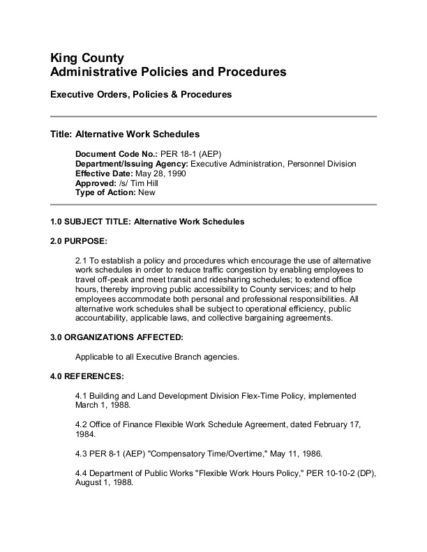 this document outlines the alternative scheduling policy for king county washington employees includes definitions and a procedure for applying for an