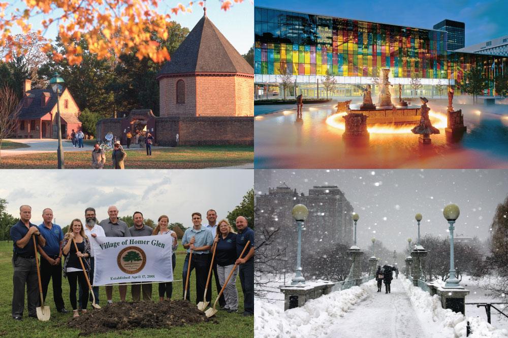 Four pictures of city landscapes