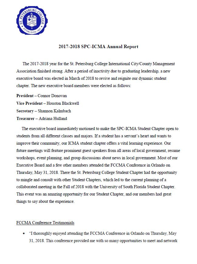 St  Petersburg College 2017-2018 ICMA Student Chapter Annual