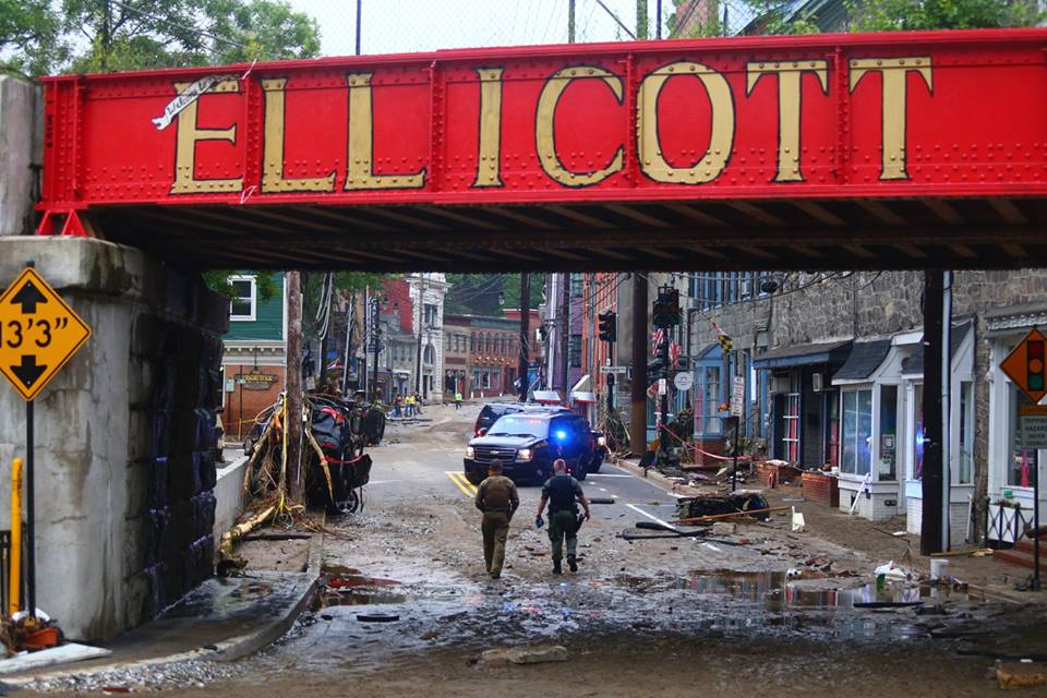 flood ravaged Ellicott city Maryland