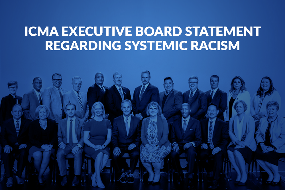 image of ICMA Executive board with title statement regarding systemic racism overlay