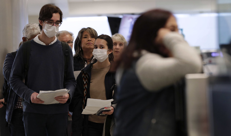 People walking with face masks