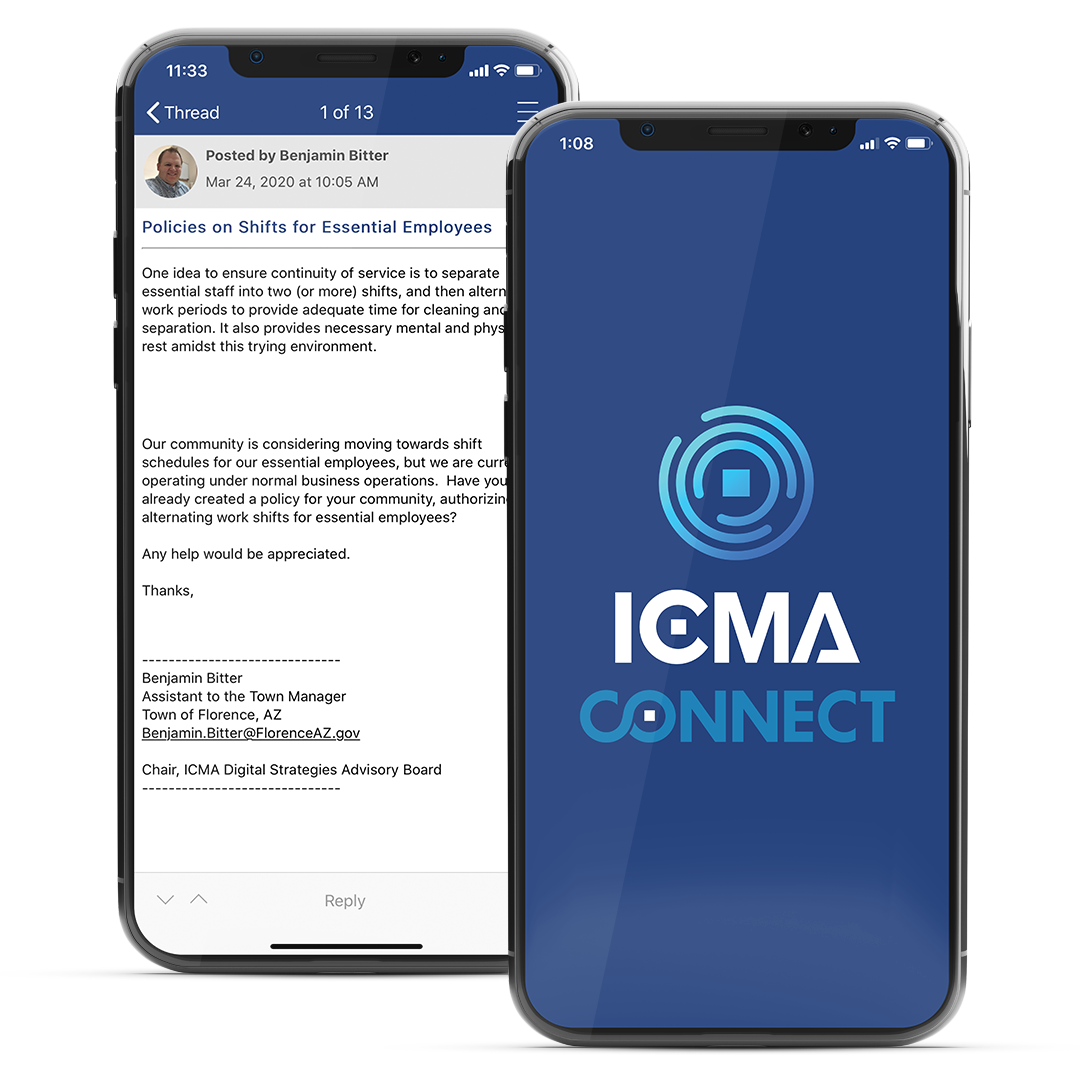 two mobile phone mockups of icma connect community
