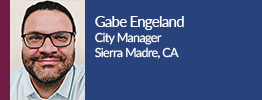 gabe engeland, city manager of sierra madre, california smiling for picture.