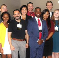 photo op diverse group of college students at professional association conference