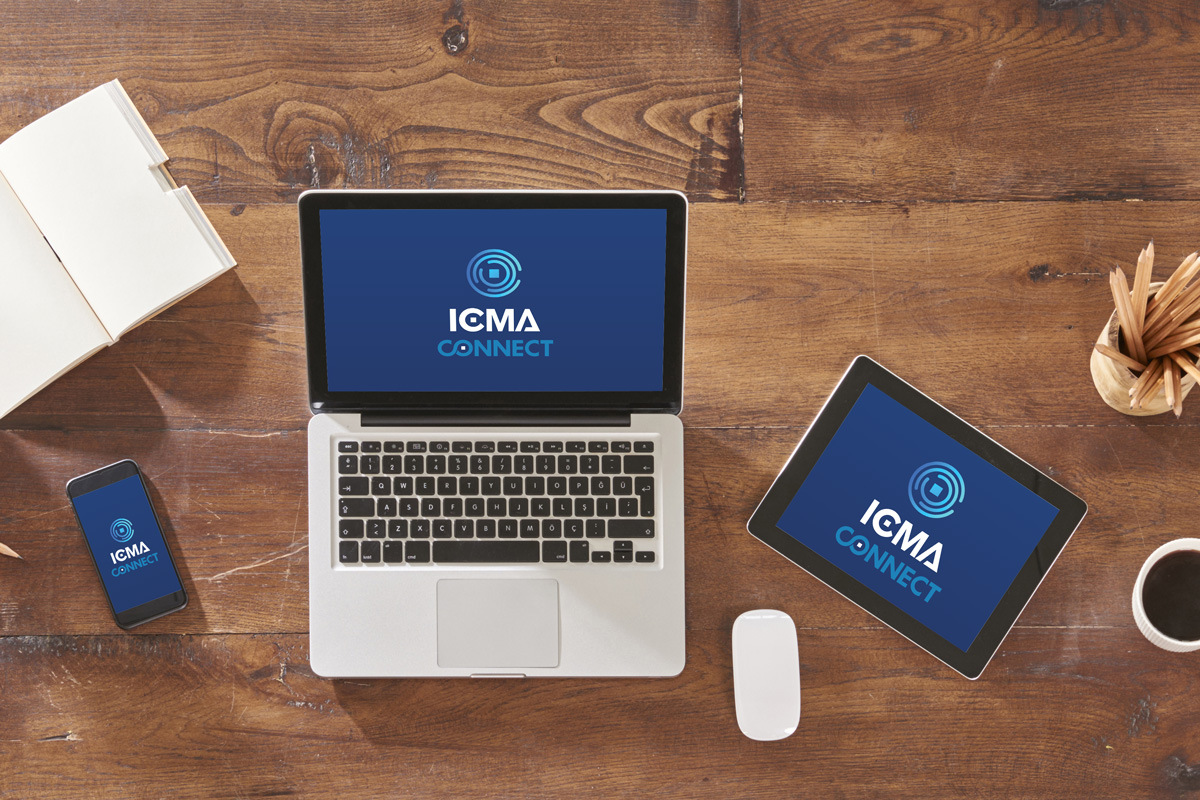 display of 3 electronic devices on a table - a mobile phone, tablet, and laptop - each has the ICMA Connect logo on the screens