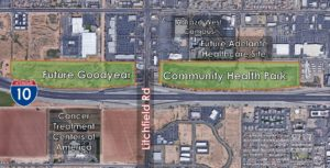 An aerial view of the planned Goodyear Community Health Park.