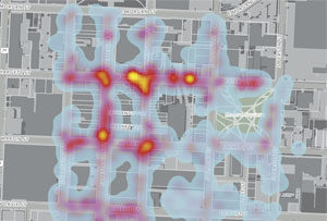 A heat map of downtown Raleigh created from data gathered through the Litter Reporter.