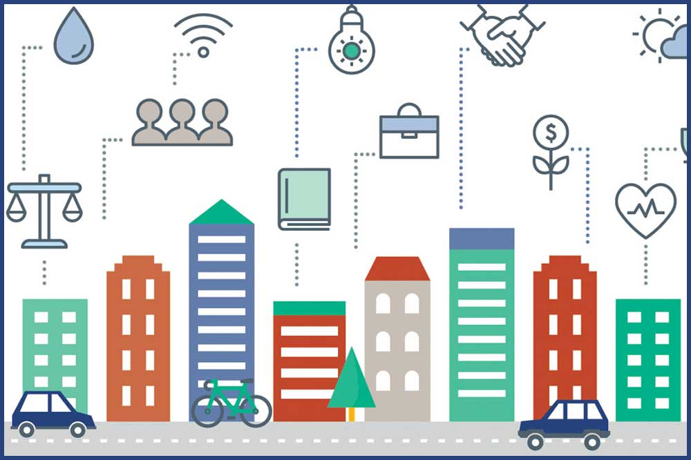 graphic with icons representing elements of a smart city