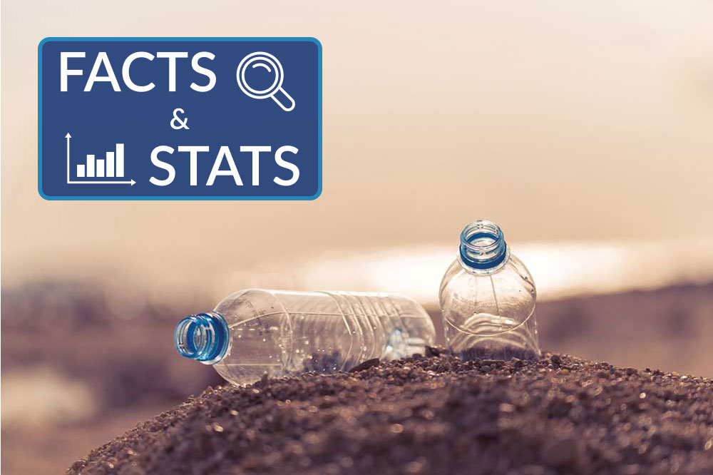 plastics on beach with facts and stats sticker