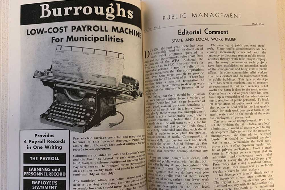 vintage copy of public management magazine showing payroll machine advert