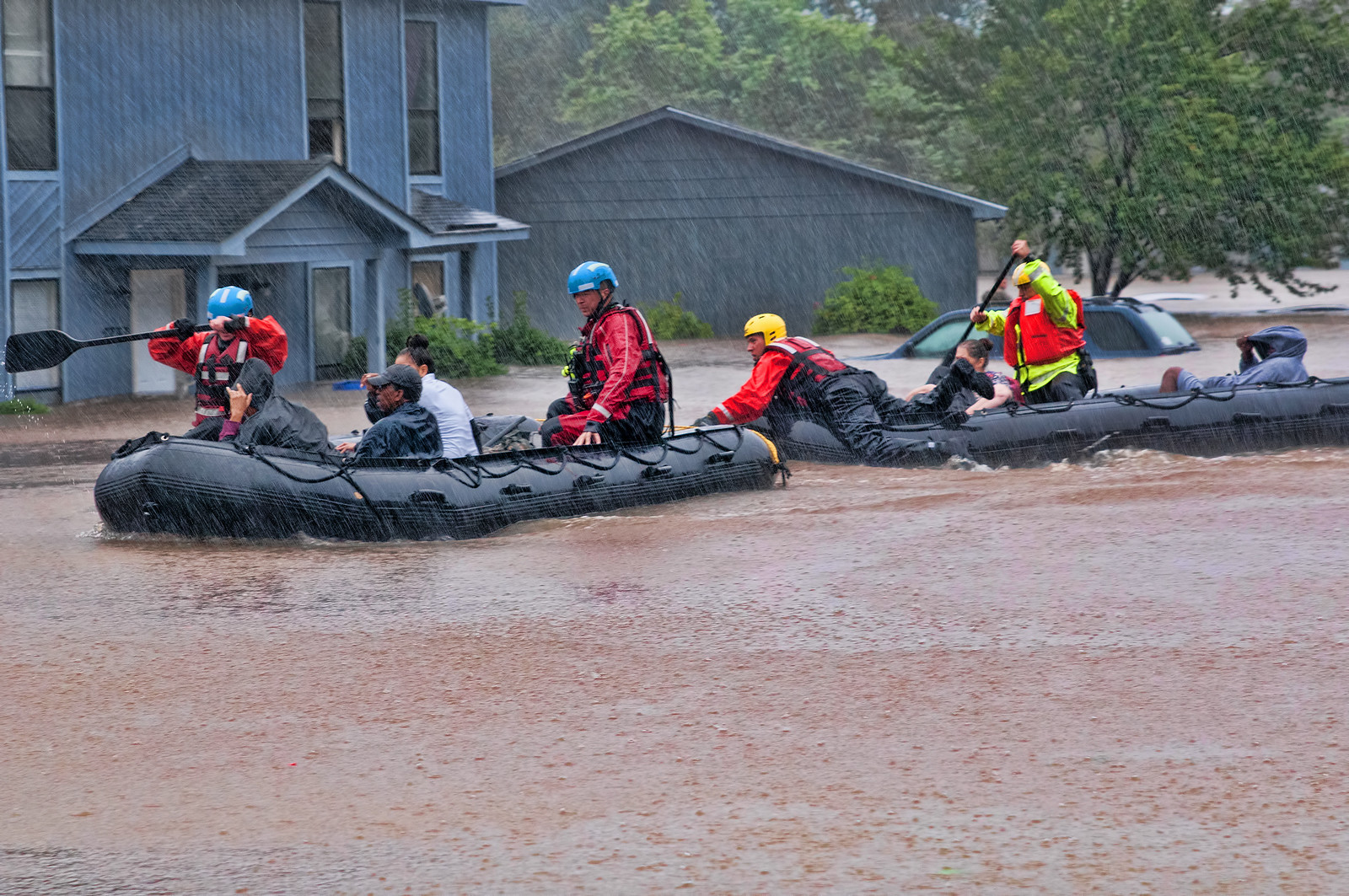 Swift water rescue teams, working for local emergency services, evacuate victims of the flooding caused by Hurricane Matthew in Fayetteville N.C., Oct
