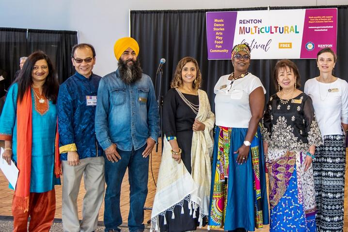 Participants in a multicultural community event in Renton, Washington