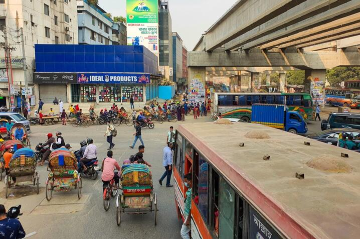 Photo of Uttara bus stop, one of the busiest in Dhaka, Bangladesh