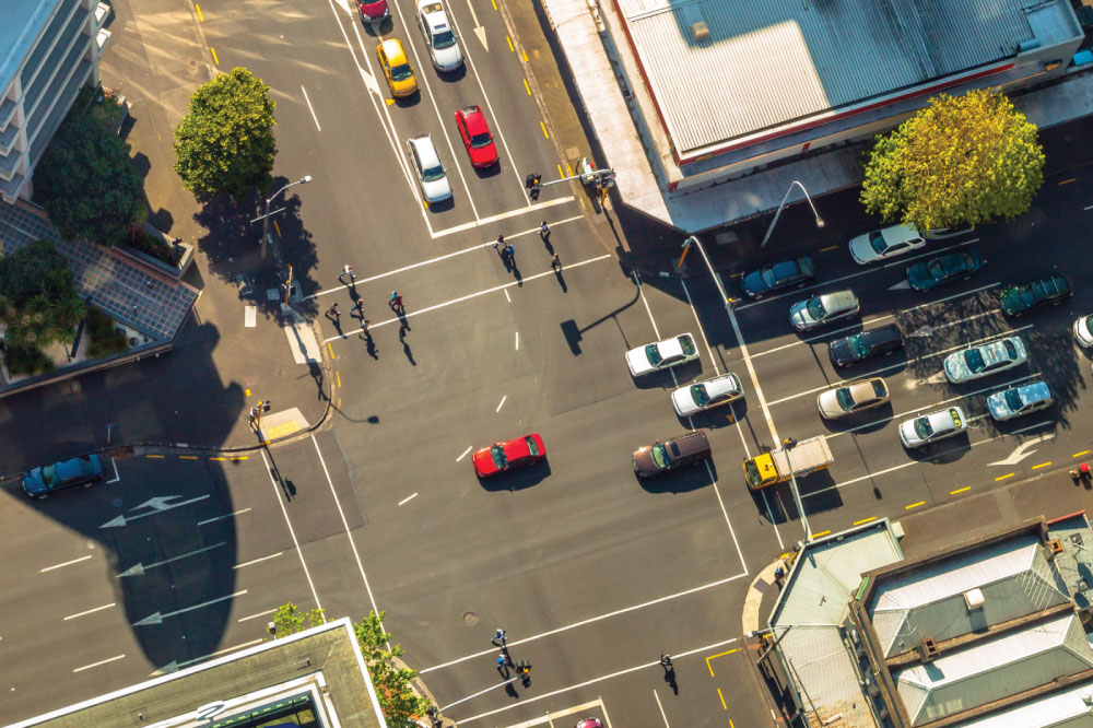 birdseye view of traffic intersection