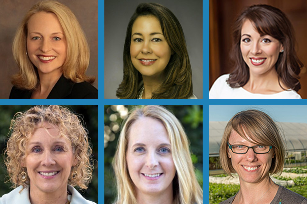 a grid of six headshots of women professionals